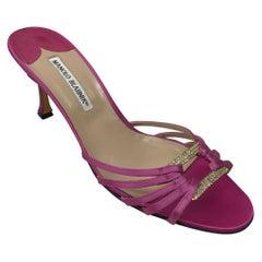 Manolo Blahnik Pink Satin Strappy Heel-40