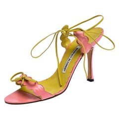 Manolo Blahnik Pink Scalloped Leather Open Toe Ankle Wrap Sandals Size 38
