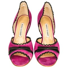 Manolo Blahnik Plum Suede d'Orsay Peep Toe High Heels With Black Leather Trim