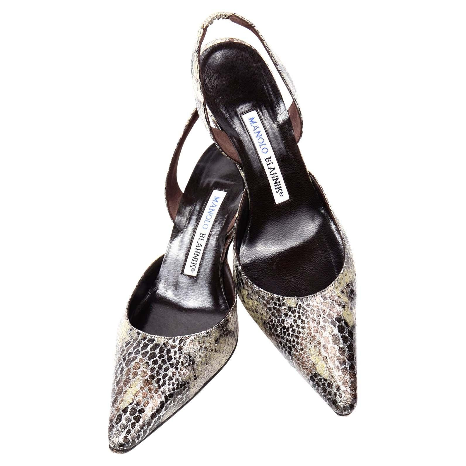 Manolo Blahnik Pointed Toe Snakeskin Pattern Slingback Shoes