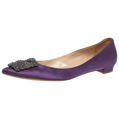 Manolo Blahnik Purple Satin Hangisi Pointed Toe Flats Size 38.5