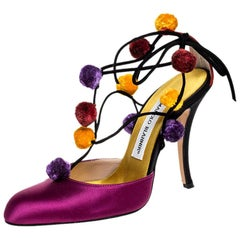 Manolo Blahnik Purple Satin Pom Pom Detail Lace Up Sandals Size 36.5