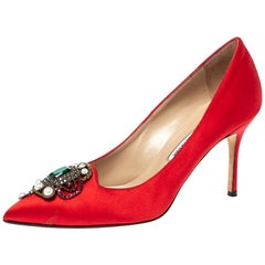 Manolo Blahnik Red Satin 'Eufrasia' Pointed Toe Pumps Size 37.5