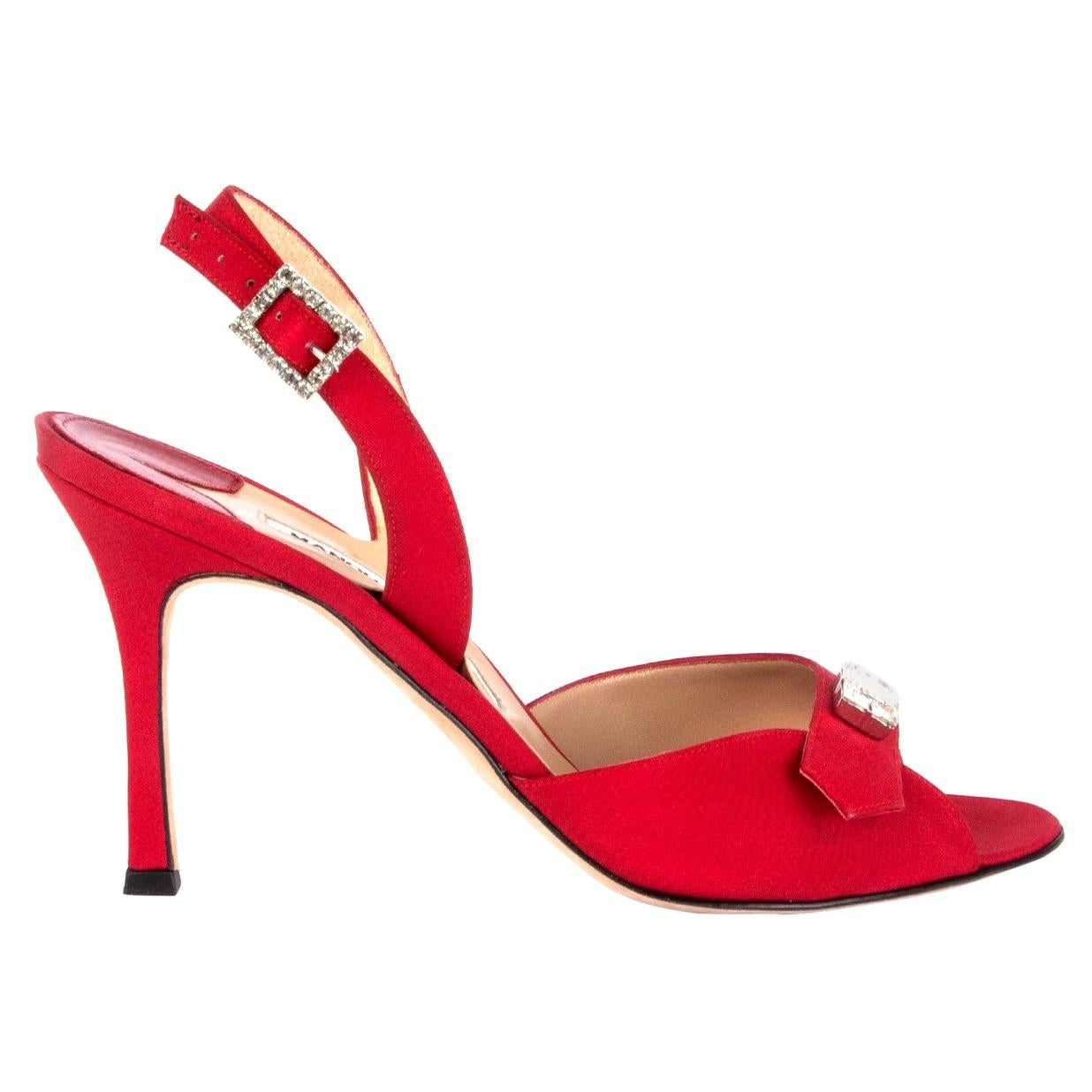MANOLO BLAHNIK red silk CRYSTAL EMBELLISHED Sandals Shoes 38.5