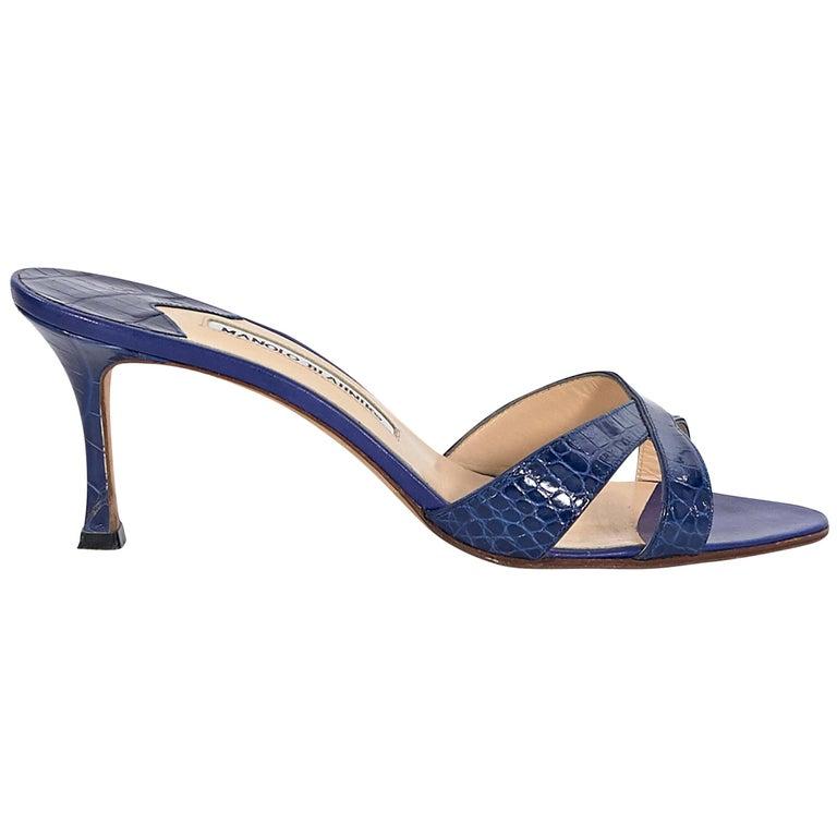 Manolo Blahnik Royal Blue Crocodile Sandals For Sale