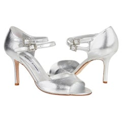 Manolo Blahnik Shoe Double Strap Diamante Buckle Silver 37.5 / 7.5