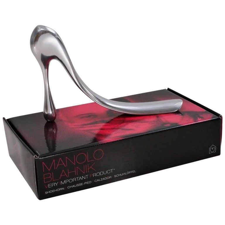 Manolo Blahnik Shoe Horn Aluminium with Original Box, 2004, English For Sale