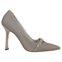 Manolo Blahnik Shoe Vintage Pump Gray Satin and Tulle Diamante Detail 39 / 9