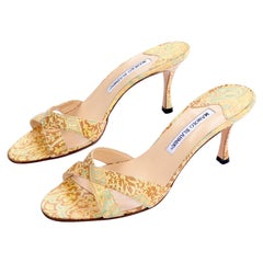 Manolo Blahnik Shoes Gold Floral Brocade Sandal Slides With Heels Size 38.5