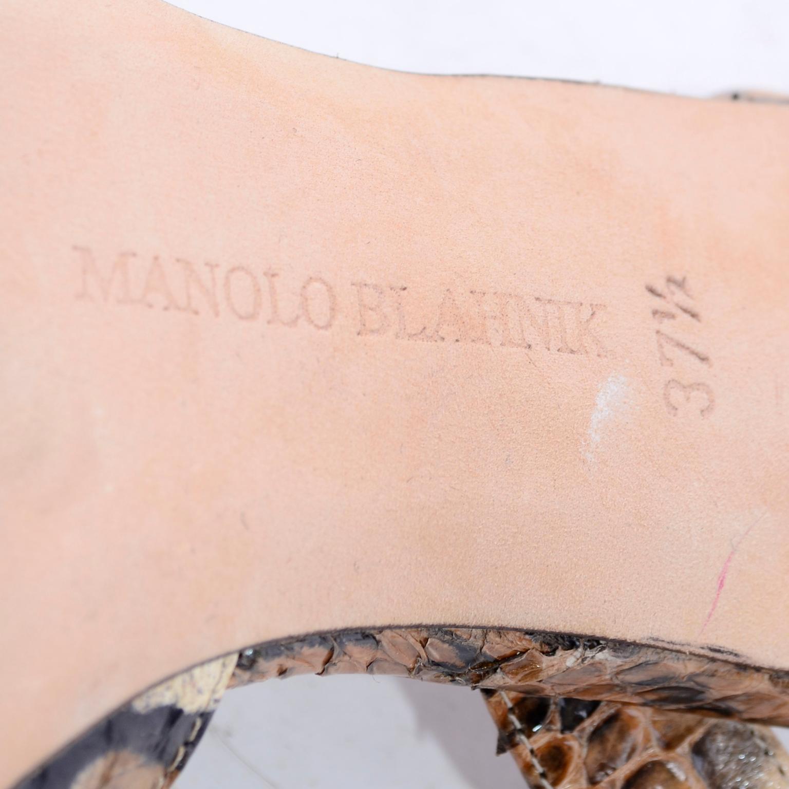 b161b2dbdffbe Manolo Blahnik Shoes in Size 37.5 Leopard Print Snakeskin Slingback Heels  at 1stdibs