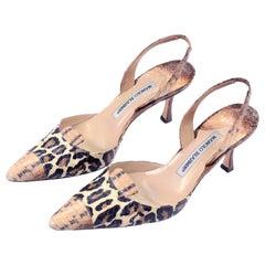 Manolo Blahnik Shoes in Size 37.5 Leopard Print Snakeskin Slingback Heels