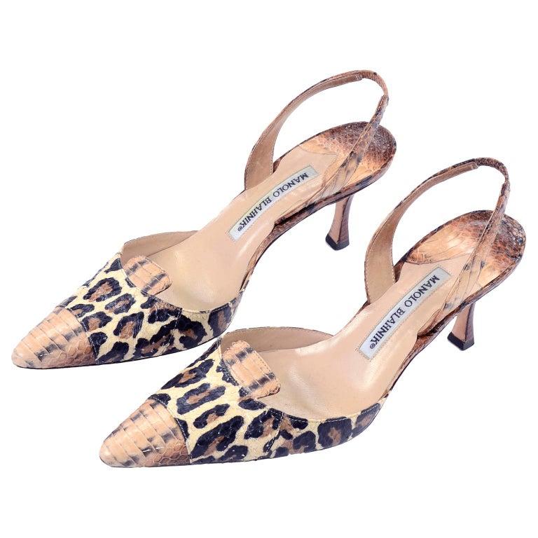 d73d961ca67c Manolo Blahnik Shoes in Size 37.5 Leopard Print Snakeskin Slingback Heels  For Sale