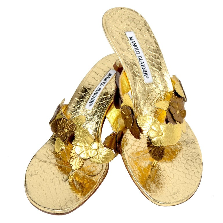 Manolo Blahnik Metallic Gold Reptile Embossed Leather Sandals With Flowers