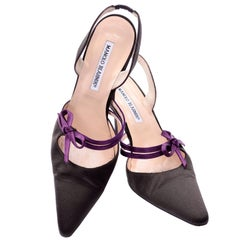 Manolo Blahnik Shoes Size 38 Brown Slingback Heels With Purple Bows