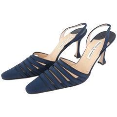 Manolo Blahnik Silk Slingback Blue Heels. NEW. Size 40 (EU)