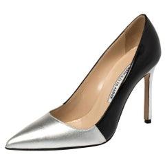 Manolo Blahnik Silver/Black Leather Osmana Pointed Toe Pumps Size 35.5