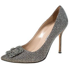 Manolo Blahnik Silver Glitter Fabric Hangisi Crystal Embellished Pumps Size 39.5