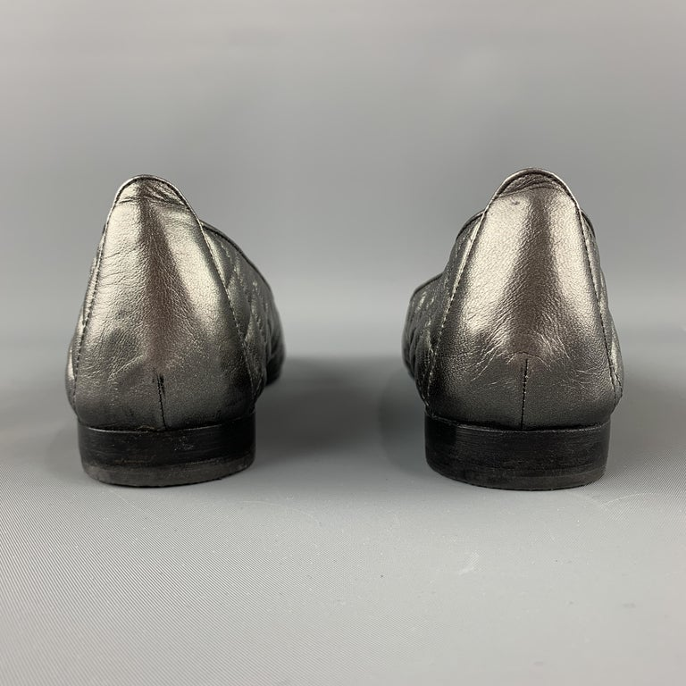 MANOLO BLAHNIK Size 10.5 Silver Quilted Leather Flats For Sale 1