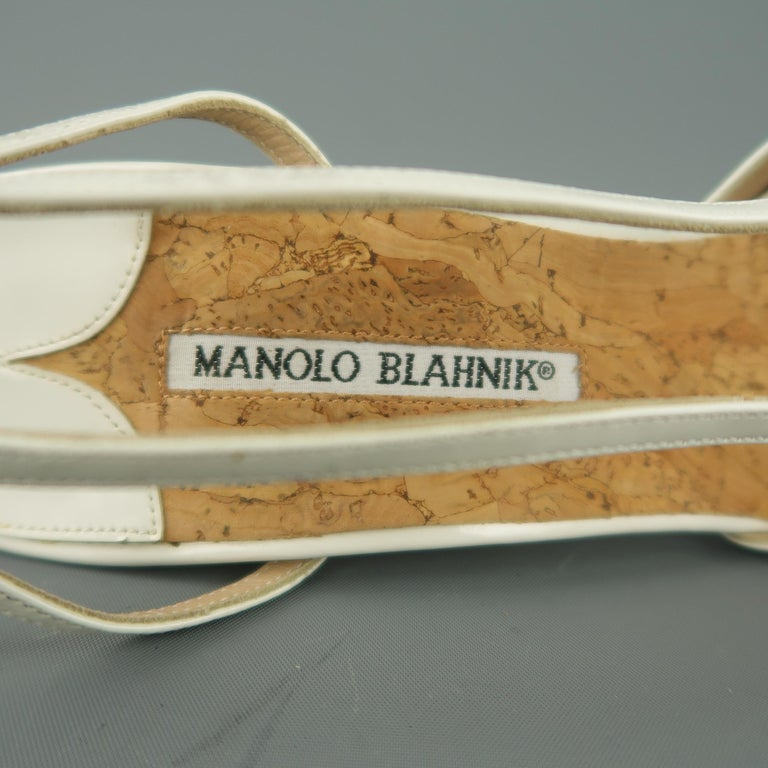 MANOLO BLAHNIK Size 12 White Patent Leather Peep Toe Slingback Pumps For Sale 1