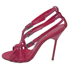 Manolo Blahnik Size 41 / 11 Raspberry Pink Patent Leather Strappy High Heels