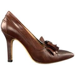 MANOLO BLAHNIK Size 5.5 Brown Eyelash Tassel Loafer Pumps