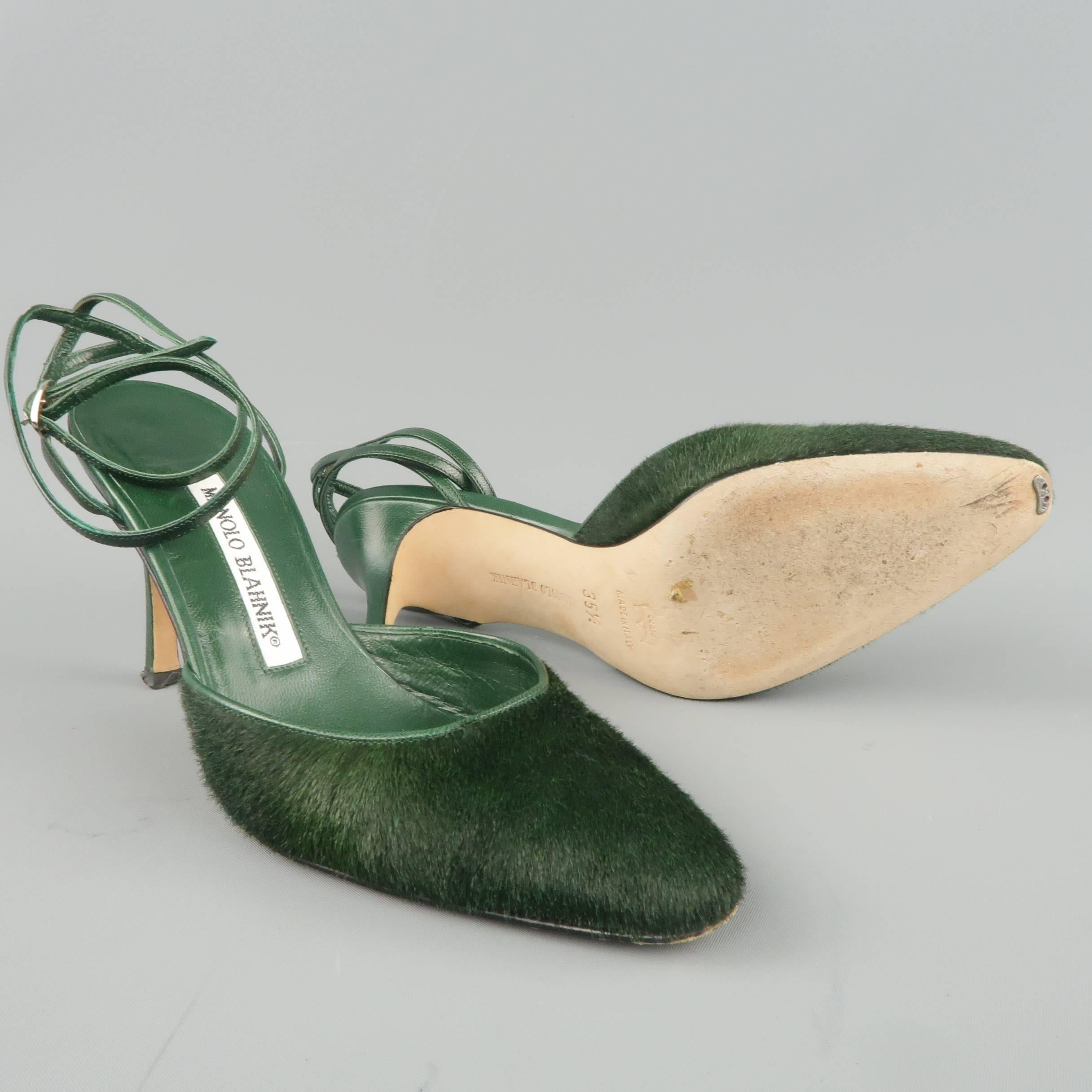 0ef9ce7c867e2 ... womens mules green c2535 canada manolo blahnik pumps heels size 5.5  green ponyhair leather ankle strap for sale 2 b79ea ...