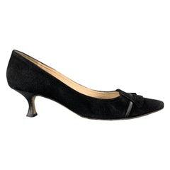 MANOLO BLAHNIK Size 7 Black Suede Ruffle Toe Pointed Pumps