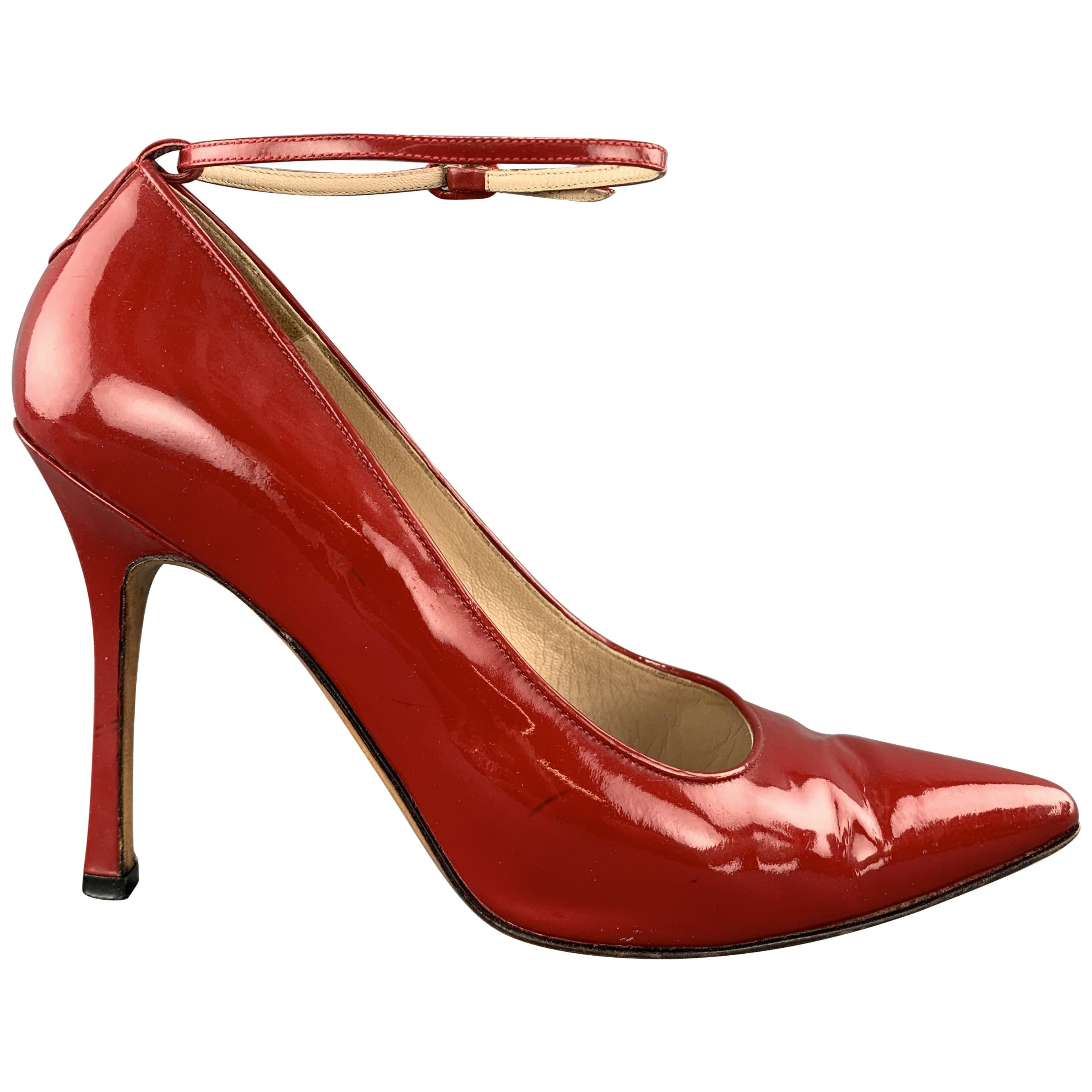 MANOLO BLAHNIK Size 7 Red Patent Leather Ankle Strap Pointed Pump