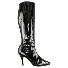 MANOLO BLAHNIK Size 8 Black Patent Leather Pointed Knee High Boots