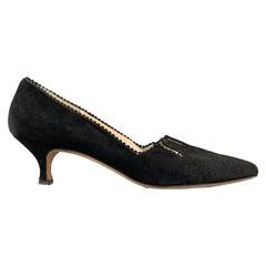 MANOLO BLAHNIK Size 8 Black Suede Fringe Kitten Heel Pumps