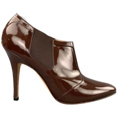 MANOLO BLAHNIK Size 8.5 Brown Patent Leather Booties