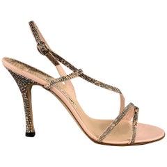 MANOLO BLAHNIK Size 8.5 Pink Leather Snake Skin Sandals