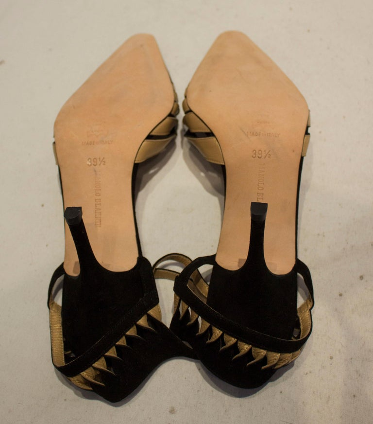 Manolo Blahnik Suede and Leather Shoes For Sale 2