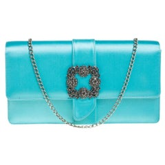 Manolo Blahnik Tiffany Blue Satin Capri Chain Clutch