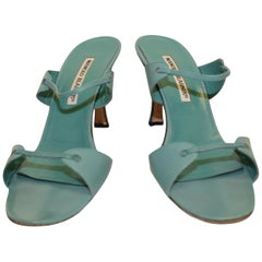 Manolo Blahnik Turquoise Leather Slip On Shoes