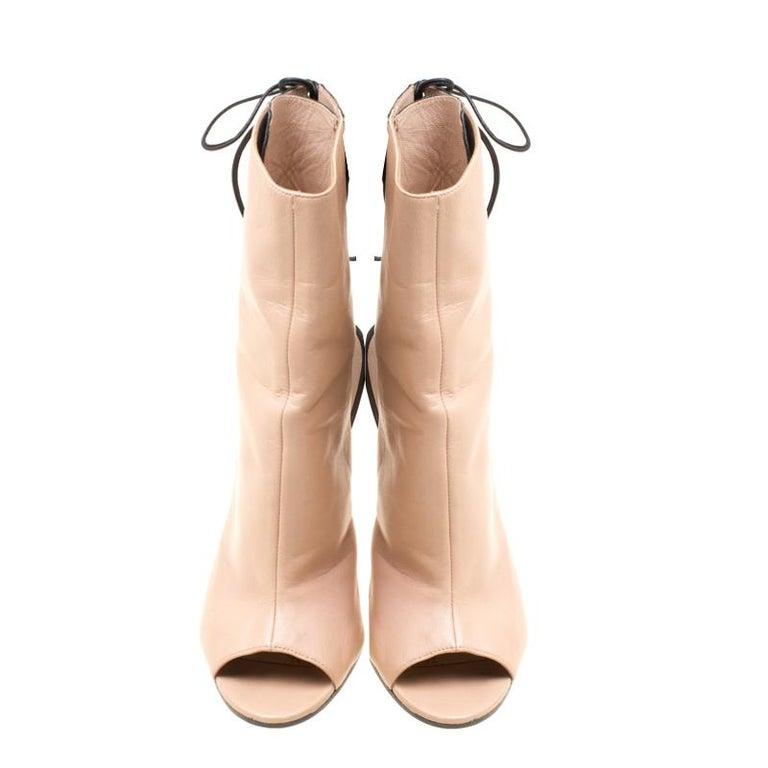 d78c76346ca8d Orange Manolo Blahnik Two Tone Leather Bellanto Cut Out Peep Toe Booties  Size 37 For Sale