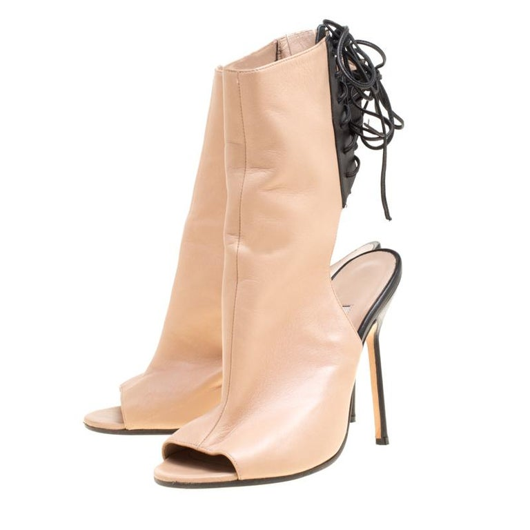 85ed2aec0f8a7 Manolo Blahnik Two Tone Leather Bellanto Cut Out Peep Toe Booties Size 37  For Sale 1