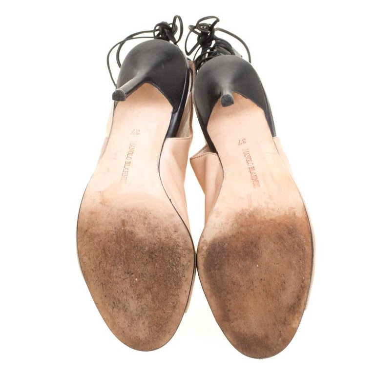 87437400b628e Manolo Blahnik Two Tone Leather Bellanto Cut Out Peep Toe Booties Size 37  For Sale 2