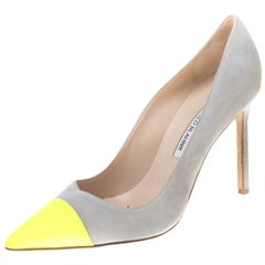 Manolo Blahnik Two Tone Suede Leather Bipunta Pointed Toe Pumps Size 38.5
