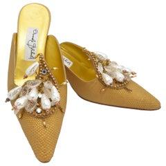Manolo Blahnik Vintage Gold Pearl Bead Embellished Mules