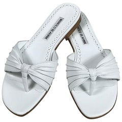 Manolo Blahnik White Leather Thong Sandals Unworn With Box, size 7