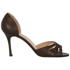 Manolo Blahnik Woman Pumps Brown Leather IT 41.5