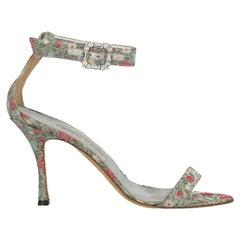 Manolo Blahnik Women  Sandals Multicolor Fabric IT 40.5
