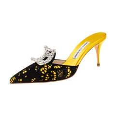 Manolo Blahnik Yellow/Black Satin and Laser Cut Suede Borli Crystal Size 38.5