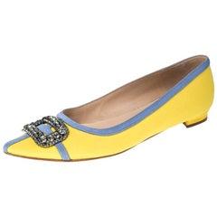 Manolo Blahnik Yellow Satin Gotrian Crystal Pointed Toe Flats Size 39