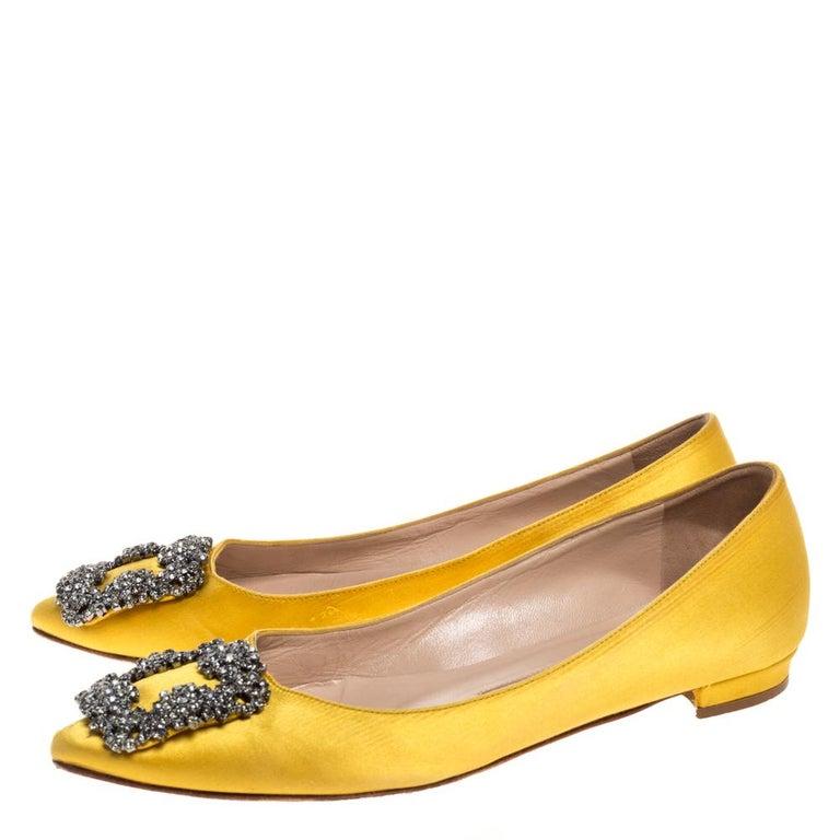 Manolo Blahnik Yellow Satin Hangisi Crystal Embellished Flats Size 34 For Sale 1