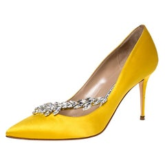 Manolo Blahnik Yellow Satin Nadira Crystal Embellished Pointed Toe Pumps Size 38
