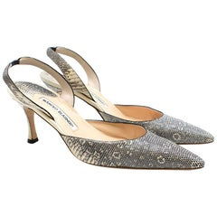 Manolo Blahnk Lizard Roccia Ring Slingback Pumps	38.5