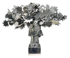 Ada Cabeza con Flores Plateadas aluminum sculpture by Manolo Valdés