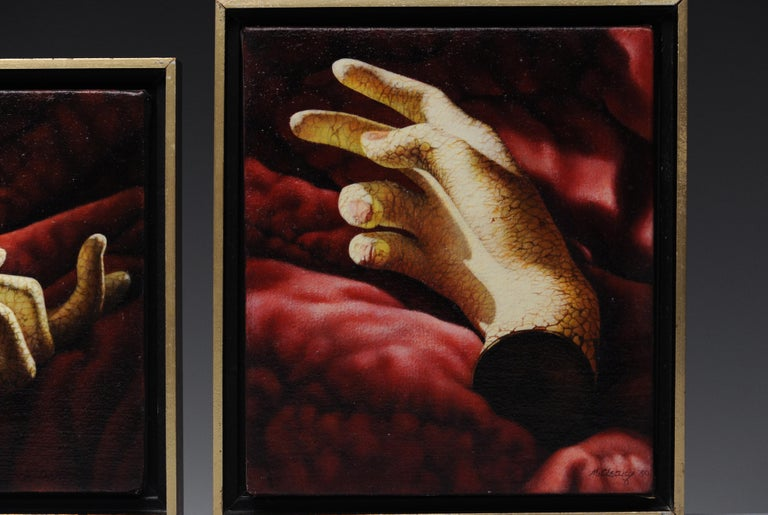 American Manon Cleary Washington DC Photo Realistic Diptych Painting Still Life of Hands For Sale
